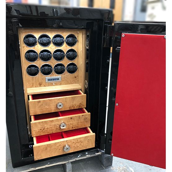 Lichfield Bespoke Safes Black High Gloss Lacquer and Cartier Red Watch Winder Safe - 12 Watch Winders with 3 Drawers