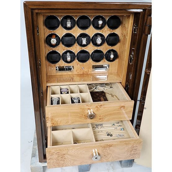 Burr Walnut and Pippy Oak Grade 1 Watch Winder Safe - Lichfield Bespoke Safes